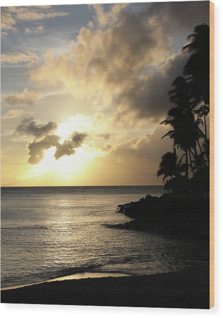 Maui Sunset Vertical Wood Print