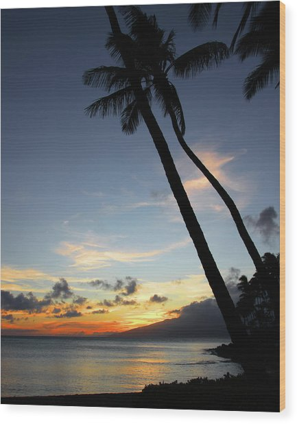Maui Sunset With Palm Trees Wood Print