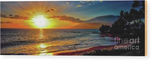 Maui Wedding Beach Sunset  Wood Print