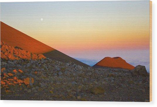 Mauna Kea Sunset With Full Moon Volcanoes National Park Hawaii Wood Print