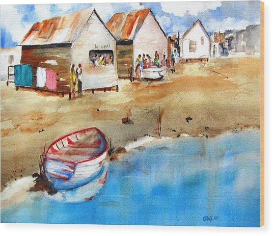 Mauricio's Village - Beach Huts Wood Print