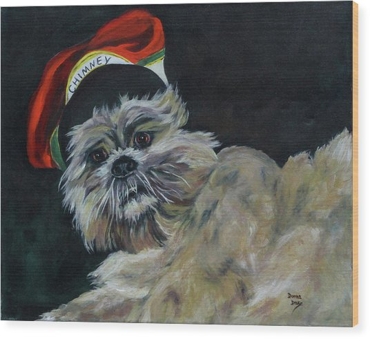 Max In Red Hat Wood Print