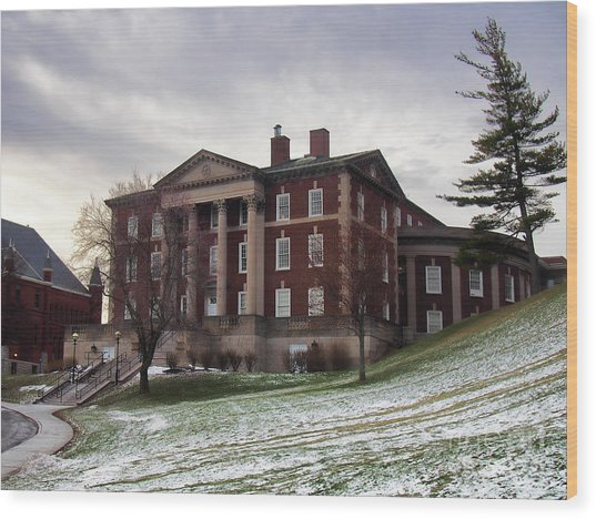 Maxwell Hall In Winter Wood Print by Debra Millet
