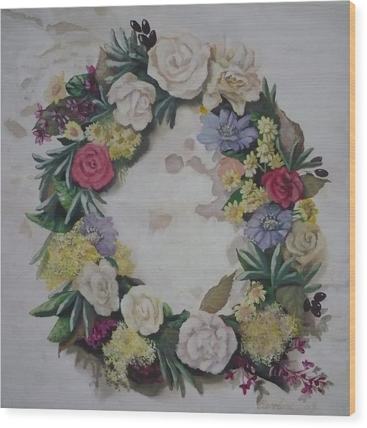 May Wreath Wood Print