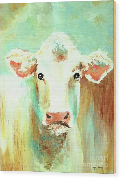 Maybell The Cow Wood Print