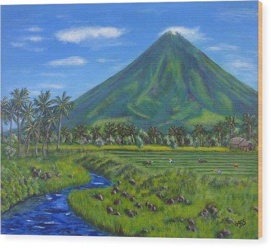 Mayon Volcano Wood Print