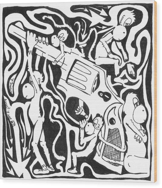 Maze Of A Team Of Monkeys Firing A Service Revolver Wood Print by Yonatan Frimer Maze Artist