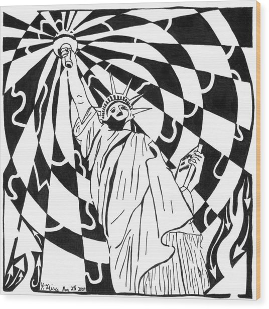 Maze Of Liberty By Yonatan Frimer Wood Print by Yonatan Frimer Maze Artist