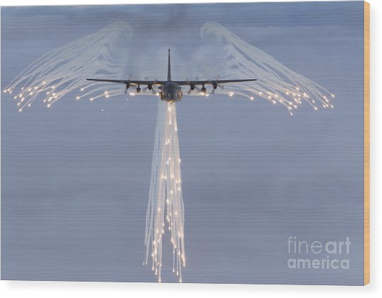 Wood Print featuring the photograph Mc-130h Combat Talon Dropping Flares by Gert Kromhout