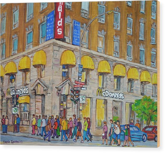 Mcdonald Restaurant Old Montreal Wood Print