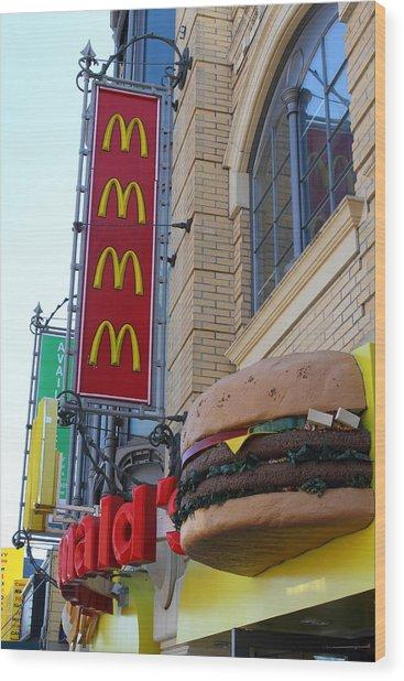 Mcdonalds Hamburger Restaurant . Fishermans Wharf . San Francisco California . 7d14249 Wood Print by Wingsdomain Art and Photography