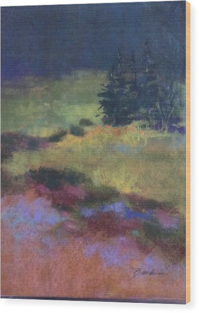 Meadow At Dusk Wood Print