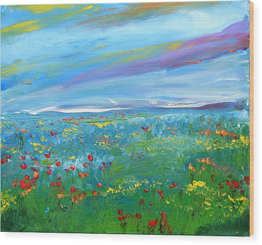 Meadow Drops By Colleen Ranney Wood Print