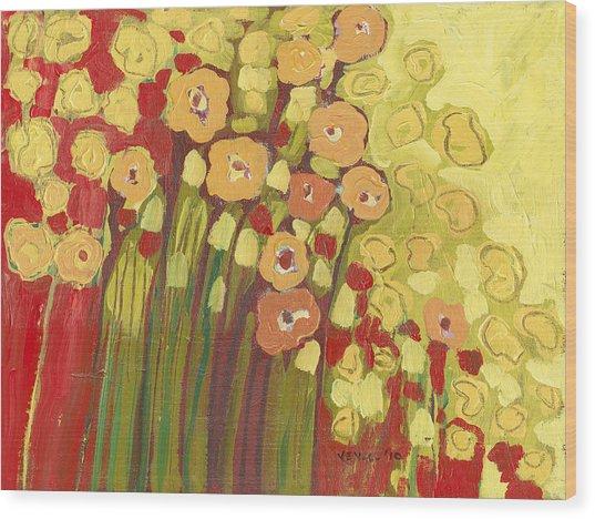 Meadow In Bloom Wood Print