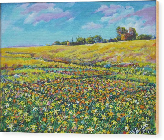 Meadow Of The Quilted Lilies Wood Print by Richard Knox