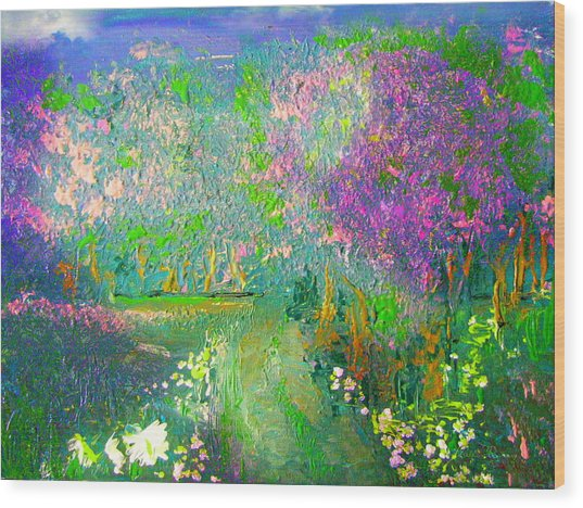 Meadow Trail By Colleen Ranney Wood Print