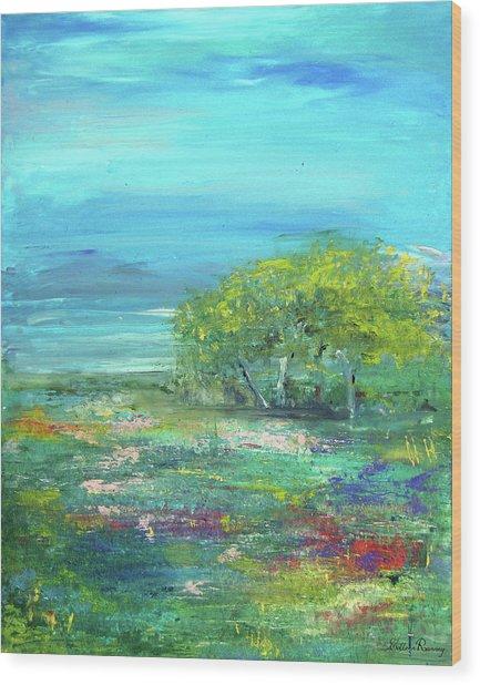 Meadow Trees Wood Print
