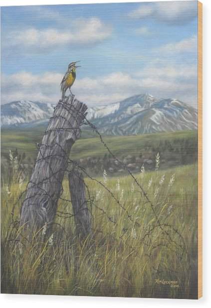 Meadowlark Serenade Wood Print