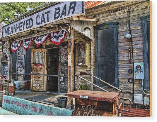 Mean Eyed Cat Bar Wood Print