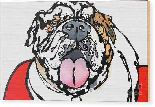Meatball The Bull Dog Wood Print