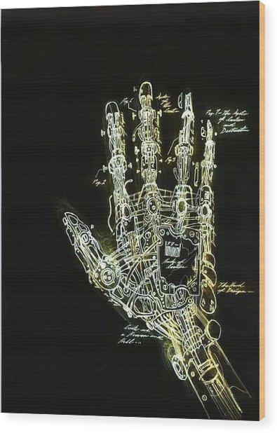 Mechanical Hand Wood Print by Ralph Nixon Jr
