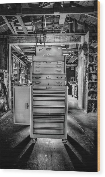 Mechanics Toolbox Cabinet Stack In Garage Shop In Bw Wood Print
