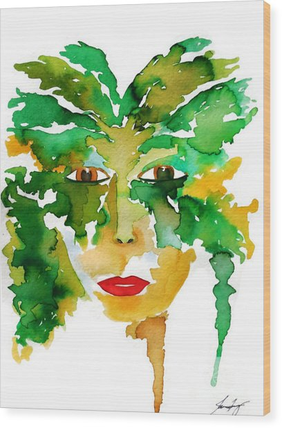 Medeina Goddess Of The Woodland Forest Wood Print