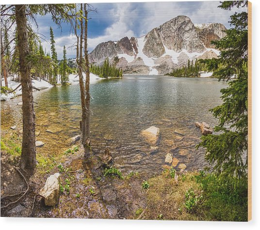 Medicine Bow Snowy Mountain Range Lake View Wood Print