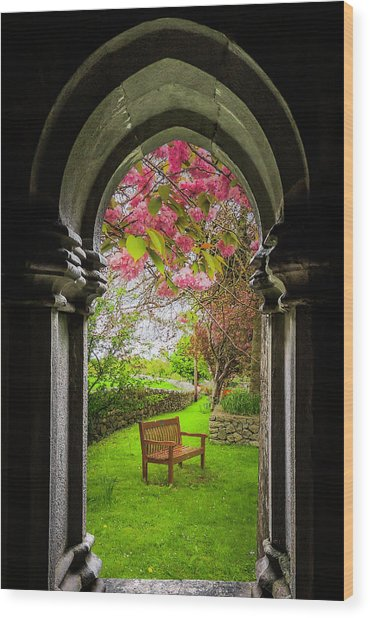 Wood Print featuring the photograph Medieval Abbey In Irish Spring by James Truett
