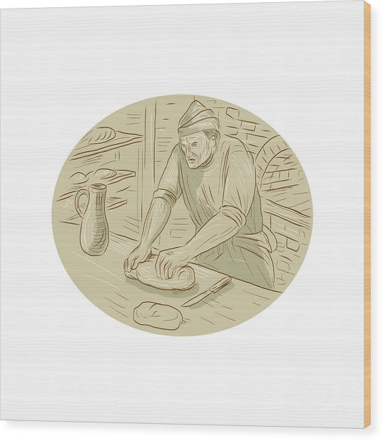 Medieval Baker Kneading Bread Dough Oval Drawing Wood Print