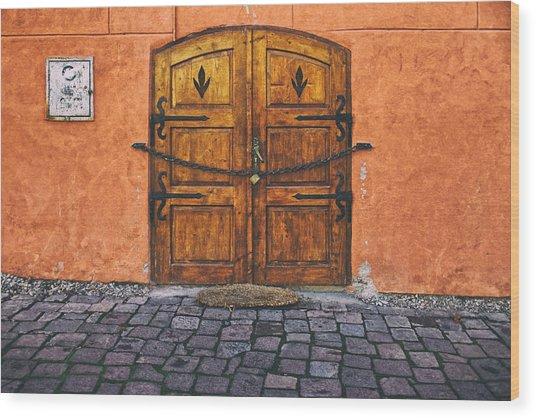 Medieval Door Sighisoara Wood Print
