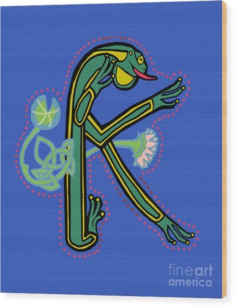 Medieval Frog Letter K Wood Print