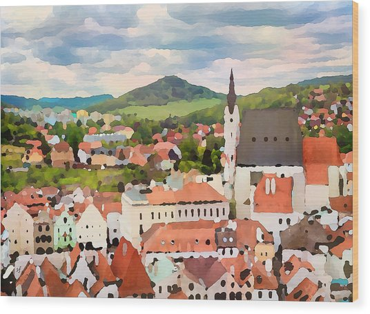 Wood Print featuring the digital art Medieval Village  by Shelli Fitzpatrick