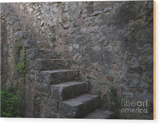 Medieval Wall Staircase Wood Print