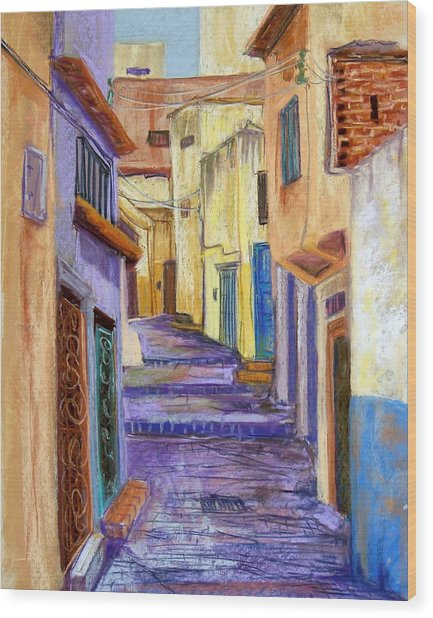 Medina In Tangier Wood Print by Candy Mayer