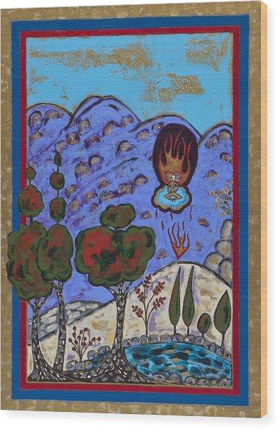 Meditating Master A Heart Afire Wood Print by Maggis Art
