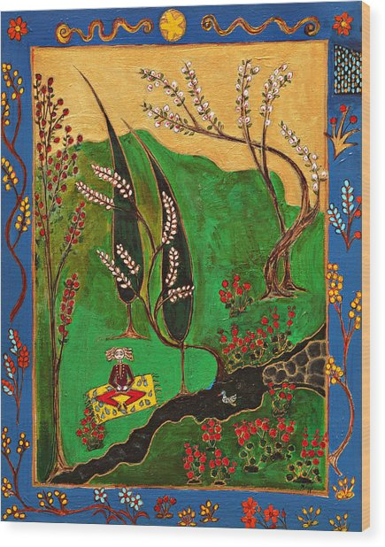 Meditating Master By Stream With Yellow Rug Wood Print by Maggis Art