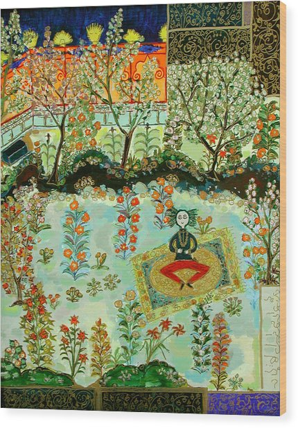 Meditating Master In Courtyard Wood Print by Maggis Art