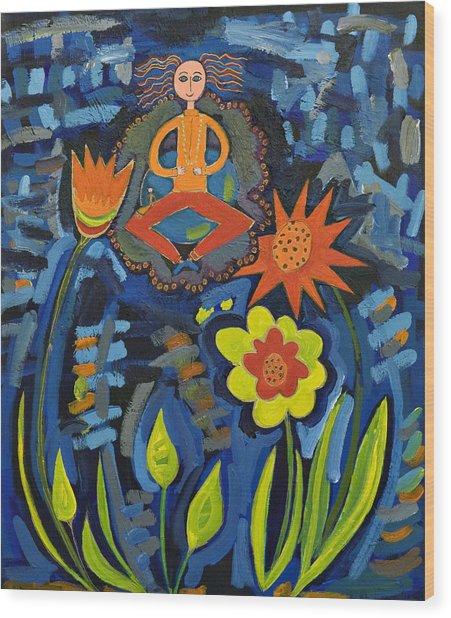 Meditating Master In Moonlit Garden Wood Print by Maggis Art