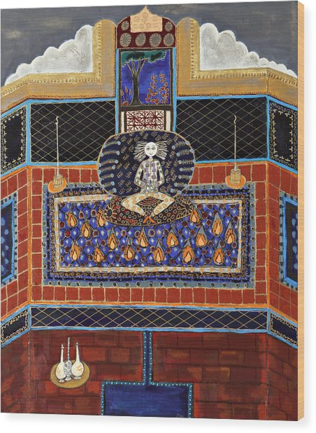 Meditating Master In Tiled Courtyard Wood Print by Maggis Art