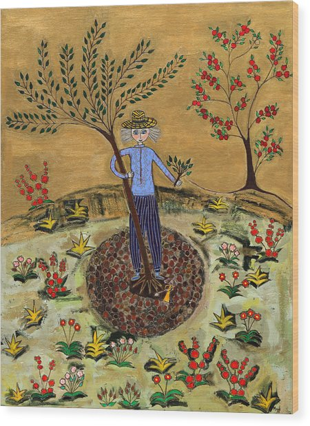 Meditating Master Planting Tree Wood Print by Maggis Art