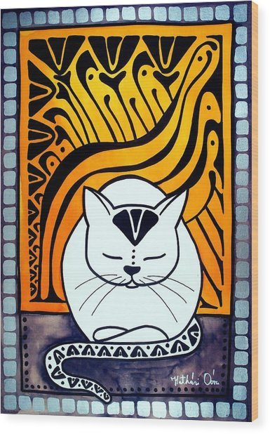 Meditation - Cat Art By Dora Hathazi Mendes Wood Print