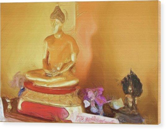 Meditation Room Buddha Wood Print