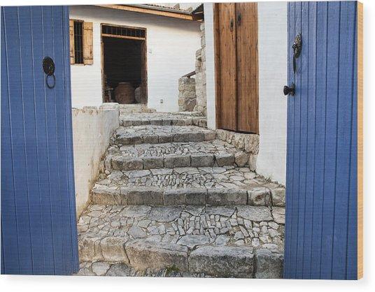 Mediteranean Old House Wood Print