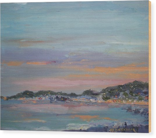 Mediterranean At Dusk Nice France Wood Print by Bryan Alexander
