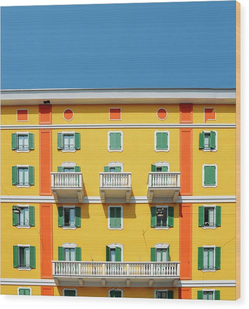 Mediterranean Colours On Building Facade Wood Print