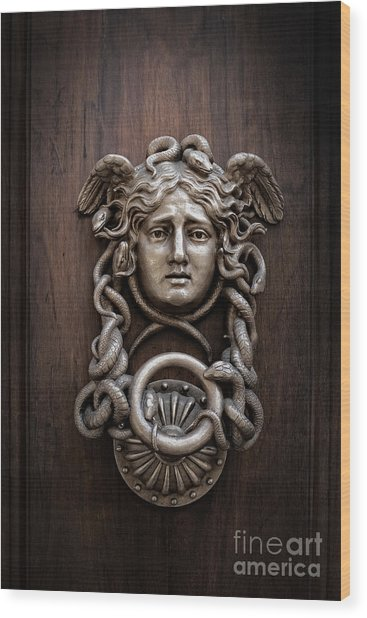 Medusa Head Door Knocker Wood Print