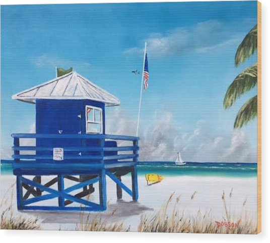 Meet At Blue Lifeguard Wood Print