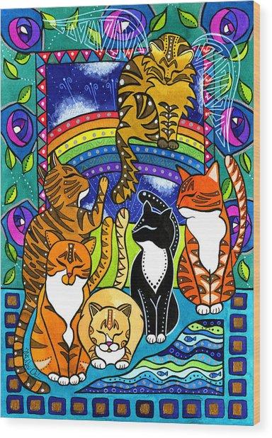 Meet Me At The Rainbow Bridge - Cat Painting Wood Print