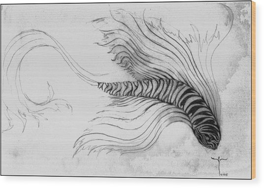 Wood Print featuring the drawing Megic Fish 3 by James Lanigan Thompson MFA